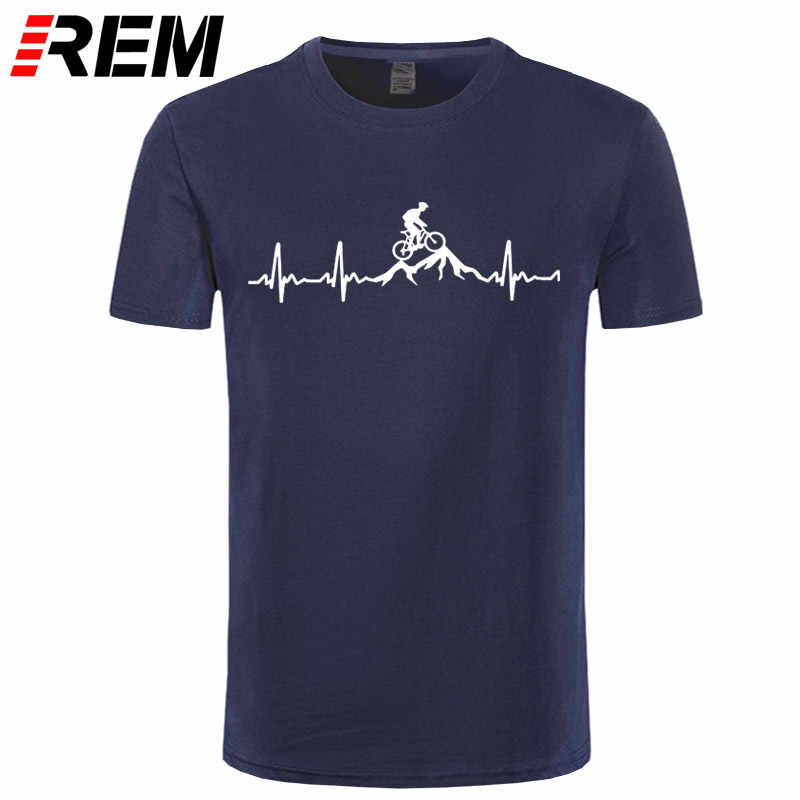 REM Mountain Bike Heartbeat Funny MTB Dirt Bike T Shirt Plus Size Custom Short Sleeve Men's T-shirt Fashion Family Cotton