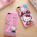 Nueva moda alivio de dibujos animados hellokitty teléfono case para iphone 6 6 s 6 p 6sp para iphone 7 7 plus contraportada suave kt cat para la mujer chica