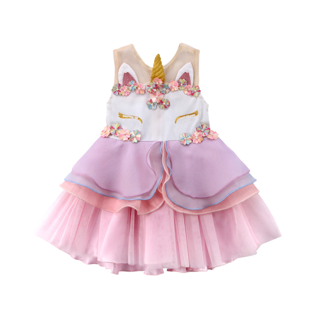 fb2cd0d27c Natal Do Bebê Meninas Tutu Vestido de Festa Unicórnio Mangas Chiffon  Pageant Vestidos de Casamento Da