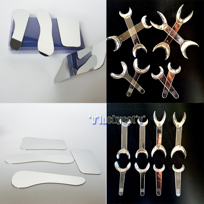 4pcs Dental Clinic Stainless steel Photographic Mirror + 8PCS Dental Intraoral Cheek Retractor Transparent Mouth Openers