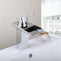 Luxury LED Light Chrome Waterfall Faucet Spout Chrome Brass Faucet Accessory Bathroom Faucet Mixer Tap