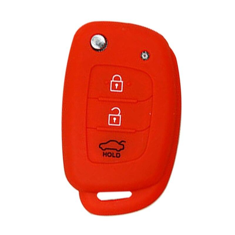 3 кнопки силиконовый автомобильный чехол для дистанционного ключа Защитная крышка для hyundai Creta I10 I20 Tucson Elantra - Название цвета: RD