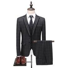 (Jacket+Pants+Vest)Suit Men 2018 Brand Slim Fit Mens Gray Plaid Suits British Style 3 Piece Groom Wedding Classic Homme