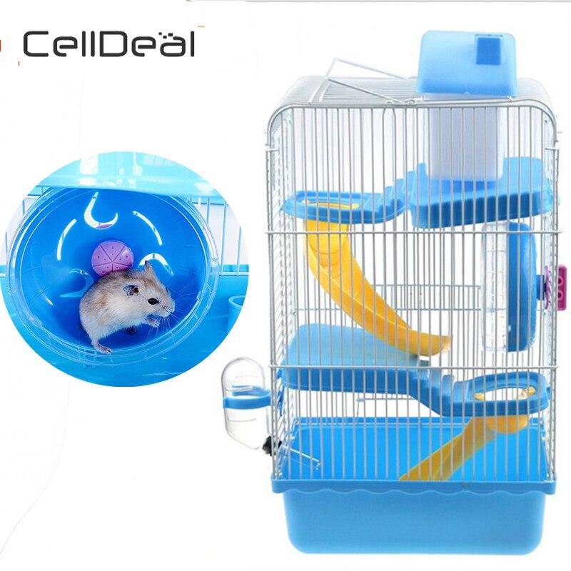 Portable Luxury 3-storey Pet Hamster Cage Castle Hamster Accessories Home Habitat Decoration Multifunctional