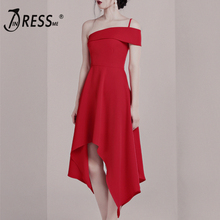INDRESSME 2019 New Women Red Dress Spaghetti Strap Sleeveless Ruffles Hem Bodycon Backless Vestidos Summer Party Club