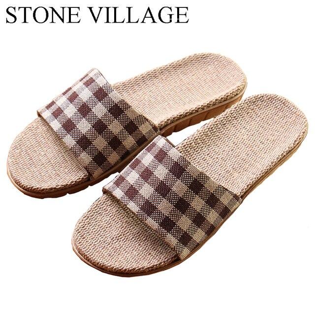 08654503e23 High Quality Cool Summer Linen Home Slippers Unisex Women Men Slippers EVA  Plaid Print Floor House Shoes Men Plus Size 35-45