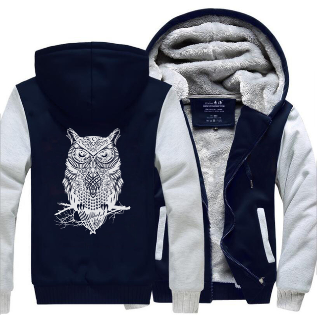 Animal Owl Funny Jackets New Style Winter Warm Fleece Sweatshirt Men  2