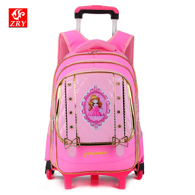 Removable Schoolbag Backpack For Girls With Wheels Trolley School Bags Wheel  Kid Luggage Wheeled Travel Drag 3404edb8c7da6