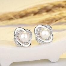 2020 Women's Earrings Fashion Korean Rhinestone Imitation Pearl Stud Earrings For Women Accessories Jewelry Geometric Earrings a suit of cute rhinestone geometric earrings for women