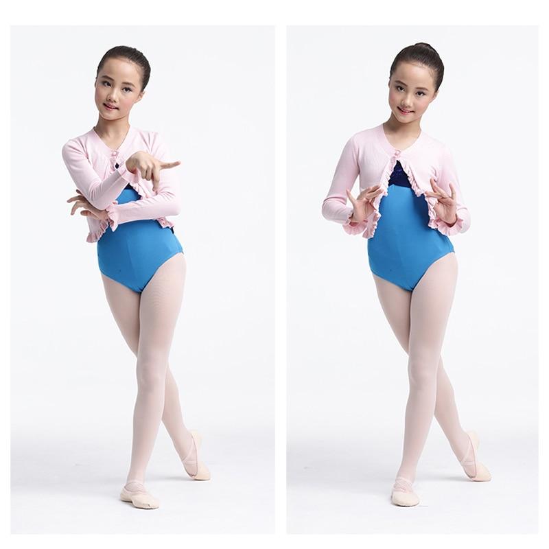 Longue couche de finition de chandail de Ballet d'enfants pour la danse de Ballet, Cape de Ballet d'enfants pour le justaucorps de Ballet avec le bouton - 2