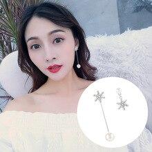 S925 Silver Needle Snow Asymmetry Long Face Pearl Earrings Female Korean Temperament