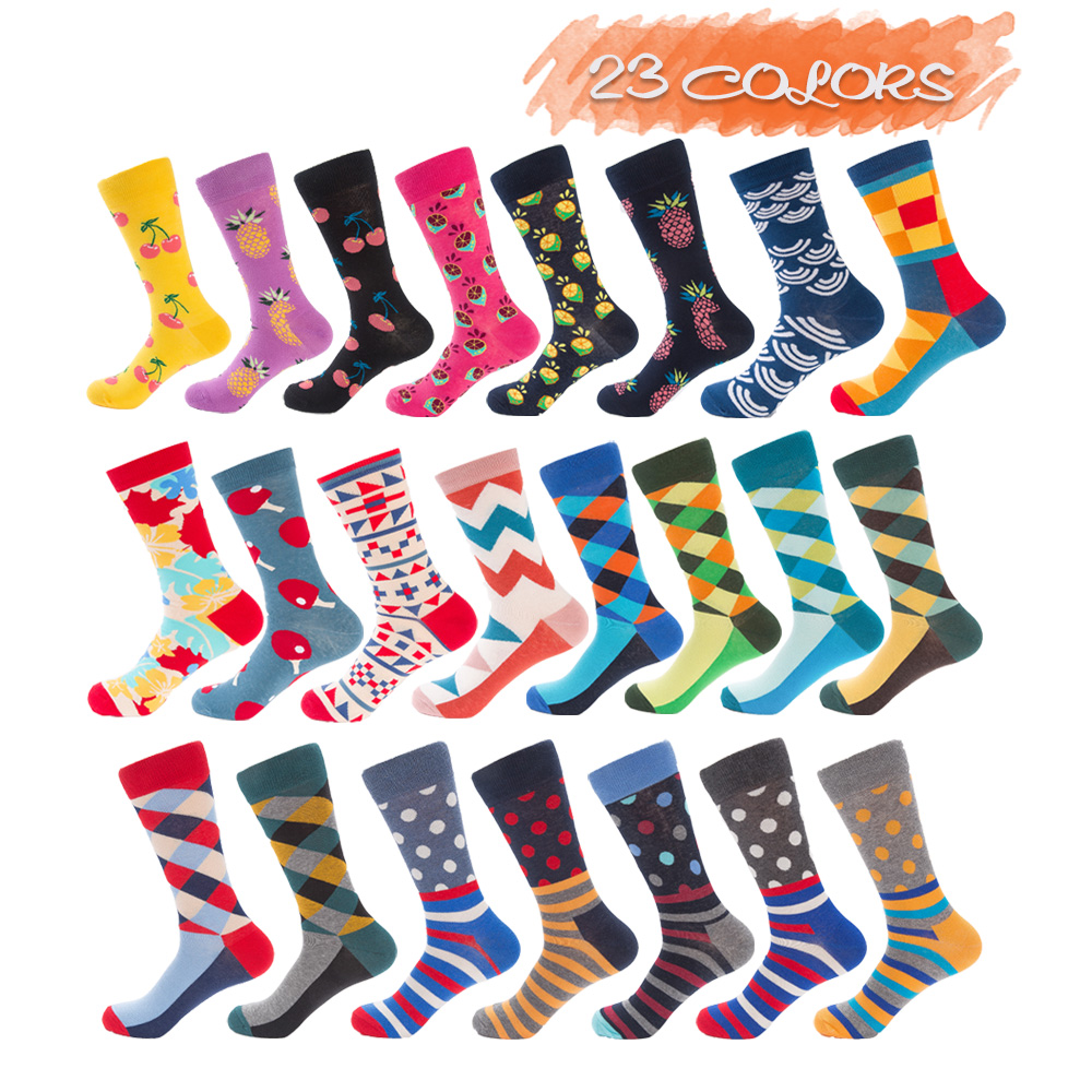 UGUPGRADE Hot Sales Street Wear Men Socks Joker Funny Colorful Design Combed Cotton Happy Socks Men Fashions Wedding Gift
