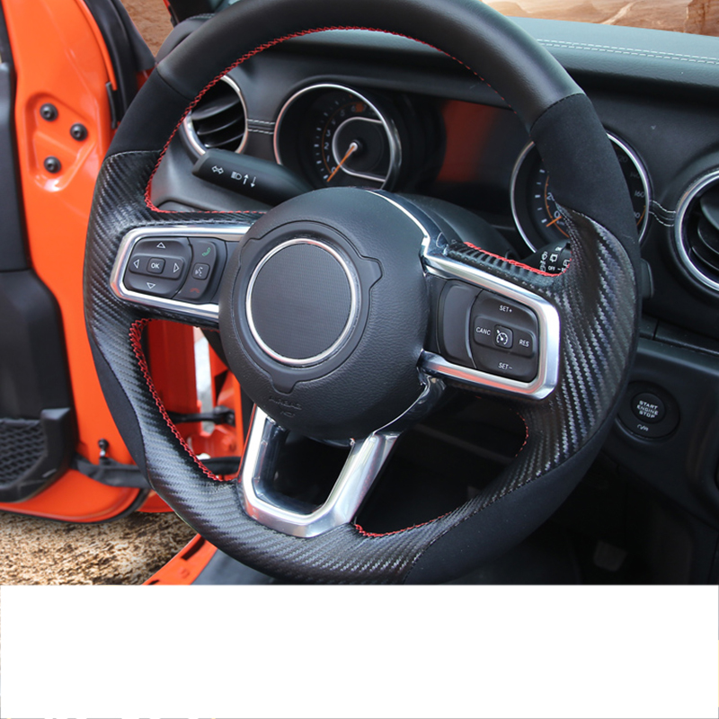 lsrtw2017 carbon fiber leather car steering wheel cover for jeep wrangler JL 2018 2019 2020 in Interior Mouldings from Automobiles Motorcycles