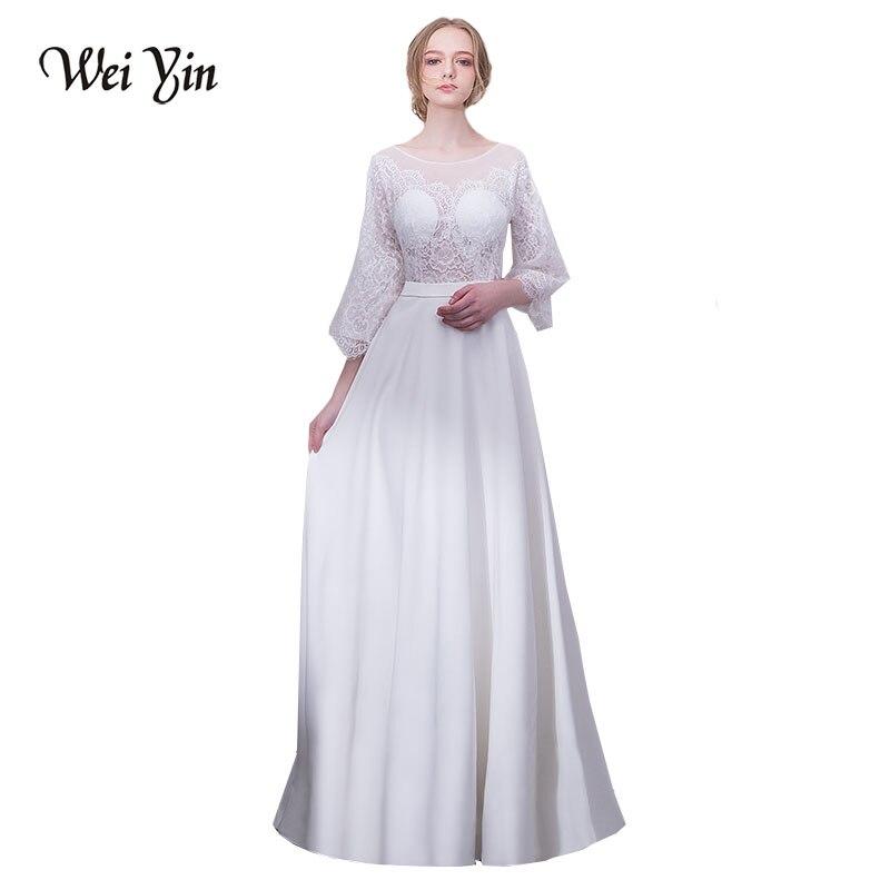 49ad4883317 WEIYIN Новые поступления длинные вечерние платья белого кружева 3 4 Длина  рукава прямо на пол