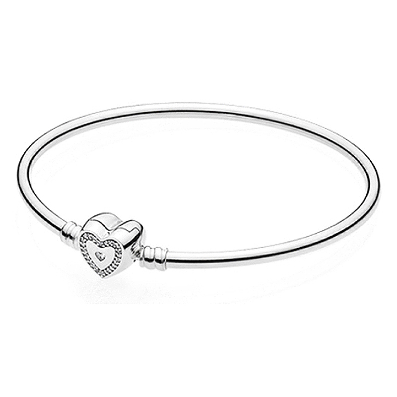 New 925 Sterling Silver Bangle Crystal Wishful Heart Moments Snake Chain Bracelet Bangle Fit Women Bead Charm Pandora Jewelry newest crystal jewelry heart love pendant watch steel alloy chain bracelet bangle quartz wristwatch for fashion women silver