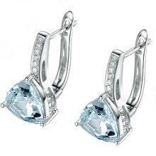 2019 Hot Sale Real 925 Sterling Silver Dazzling Blue CZ Crystal Stud Earrings for Women Fashion S925 Silver Jewelry Gift Brincos real 925 sterling silver stud earrings for women girls sterling silver jewelry brincos oorbellen aros de plata 925