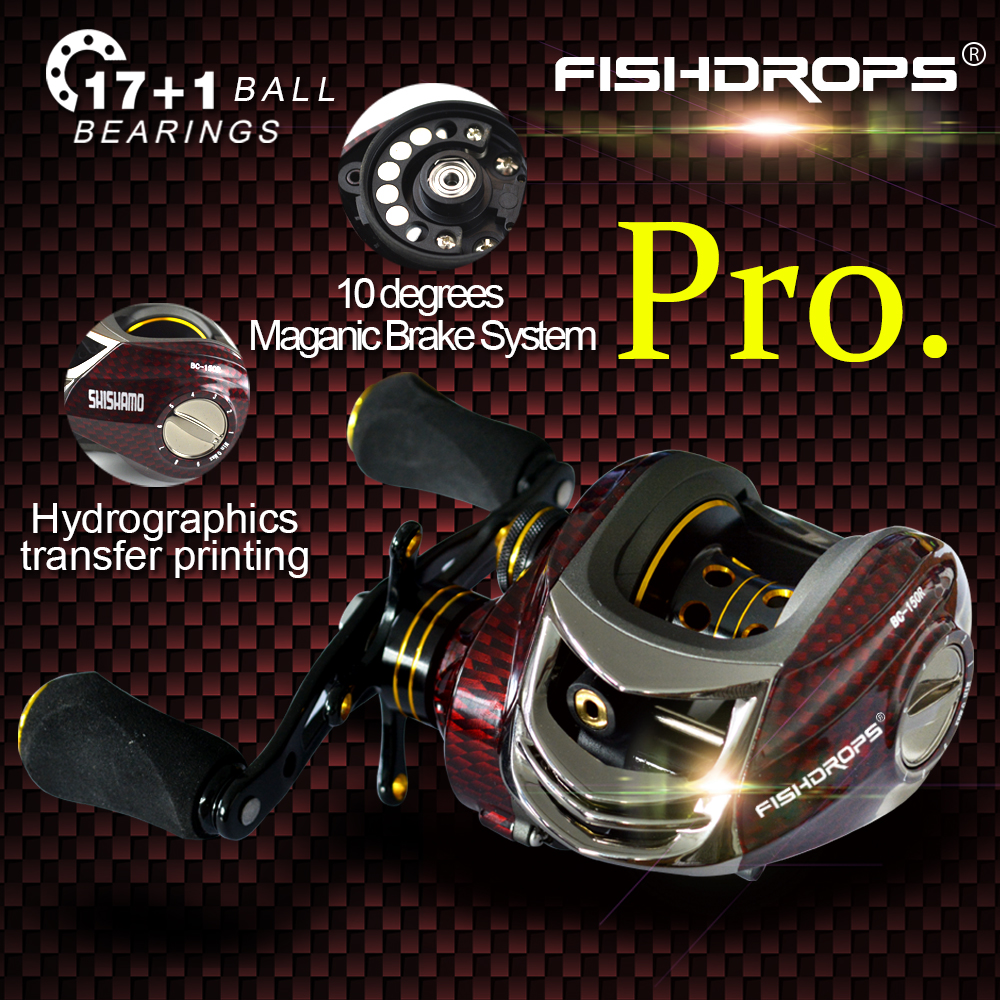 Fishdrops BC150 17 + 1 ball Baitcasting Fishing Reel bearings 6.3:1 gear 18BB Left Right Hand Fishing Bait Right Left Hand nunatak original 2017 baitcasting fishing reel t3 mx 1016sh 5 0kg 6 1bb 7 1 1 right hand casting fishing reels saltwater wheel