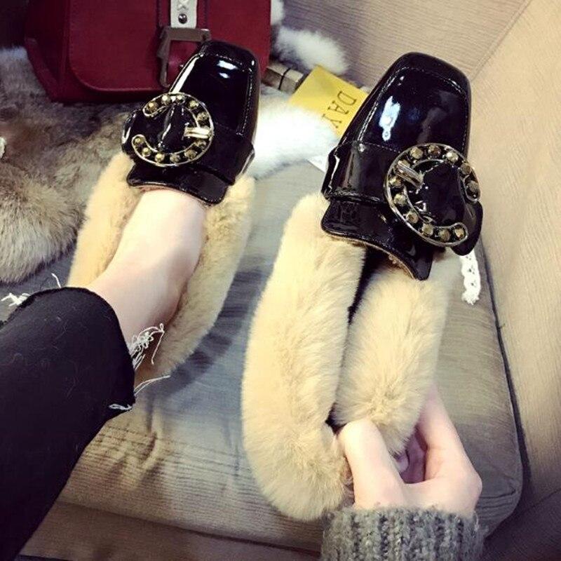 ฤดูใบไม้ร่วงและฤดูหนาวรองเท้าผู้หญิง 2018 ใหม่แฟชั่นสไตล์เกาหลีสีแดงรุ่นสวมใส่รองเท้าเดียวผู้หญิง plus กำมะหยี่รองเท้า-ใน รองเท้าส้นสูงสตรี จาก รองเท้า บน   3
