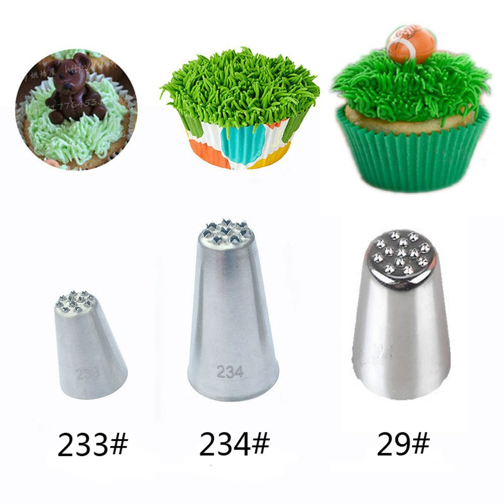 1Pc Or 3pcs/set Grass Cream Icing Nozzles Stainless Steel Sugarcraft Decor Cupcake Head Cake Decorating Tip Piping Pastry Tools