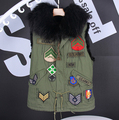 The Stars Gianna artifical Raccoon Fur Collar Rabbit Vest Army Green Jacket Liner women Sleeveless women vest