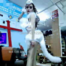 Free Shipping New Hot Sexy led Suit Nightclub Catsuit Women Fox Tail Led Dress / Led Light Suit