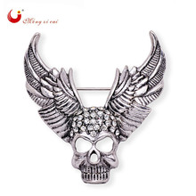Exquisite skull angel wing broach Top grade Brooch silver plated fashion gold rhinestone broches handkerchief knot  X1527