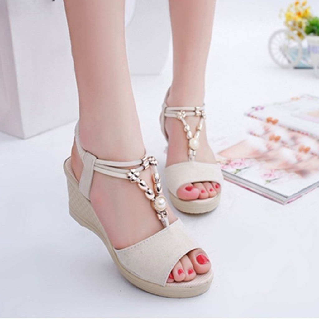 Roman Sandals Bead Summer Shoes Fashion Wedges Casual Ladies String