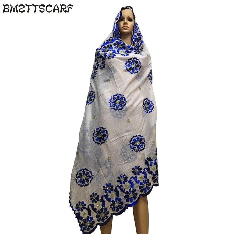 Beautiful African Women Scarfs muslim   scarf   embroidered flower nice desgin soft cotton   scarf   for shawls   wraps   BM619