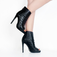 NEW Autumn Women Shoes 2018 Peep Toe Booties High Heels Women's Shoes Ankle Boots Rivets Black Leather Motorcycle Women's Boots