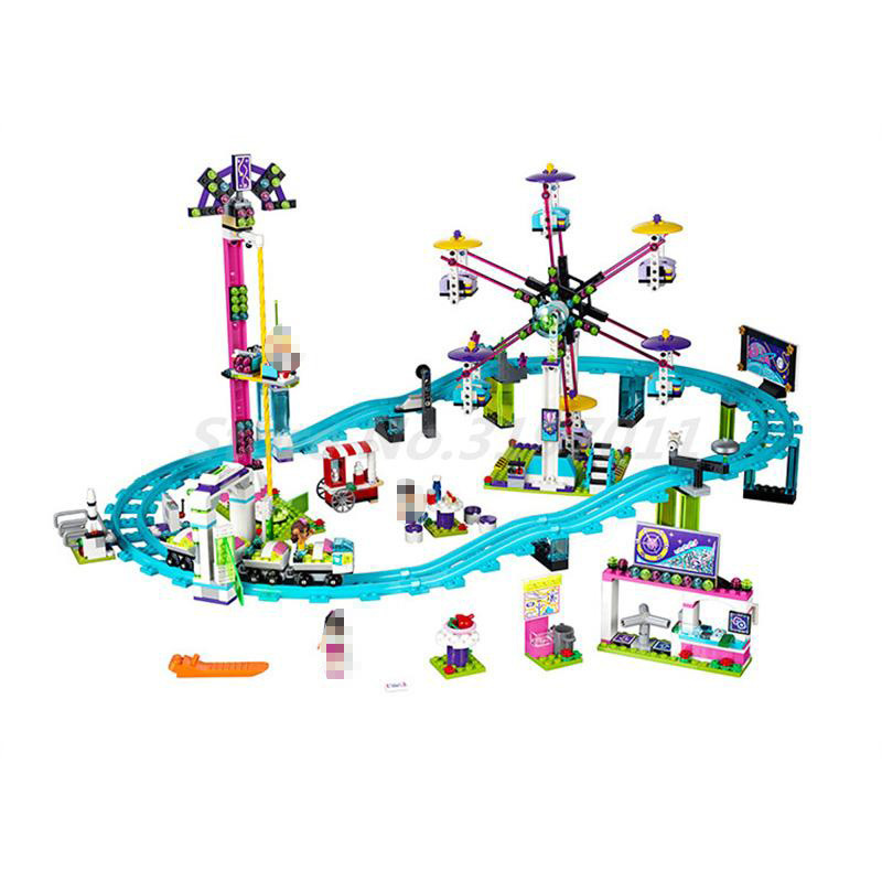 BELA 10563 Friends Amusement Park Roller Coaster 41130 Building Block Sets Model Classic DIY Toys For Kids Christmas Gifts amusement park large particle building