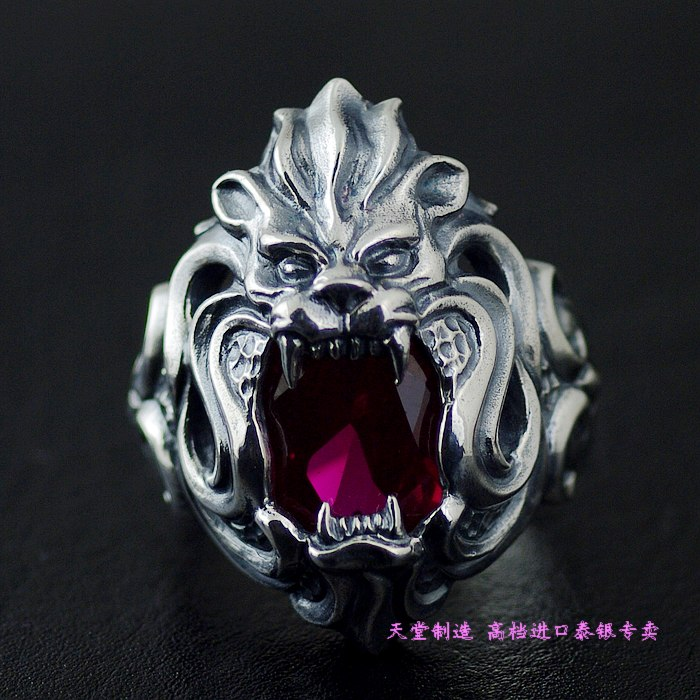 Thailand imports, 925 Silver Lion man shouts a silver ring thailand imports skull blood new skeleton silver ring