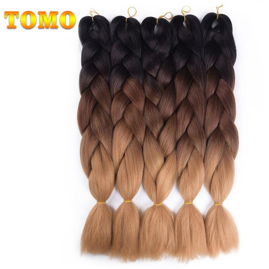 TOMO Kanekalon Jumbo trenzas pelo sintético a granel 24 ''100g trenzado africano cabello estilo Crochet extensiones de cabello 1 paquetes