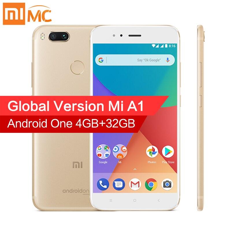 Versão Global Xiao mi mi A1 4 GB 32 gb 5.5 ''1080 p snapdragon 625 Octa core De Smartphones dupla 12MP Câmera Android Uma Impressão Digital CE