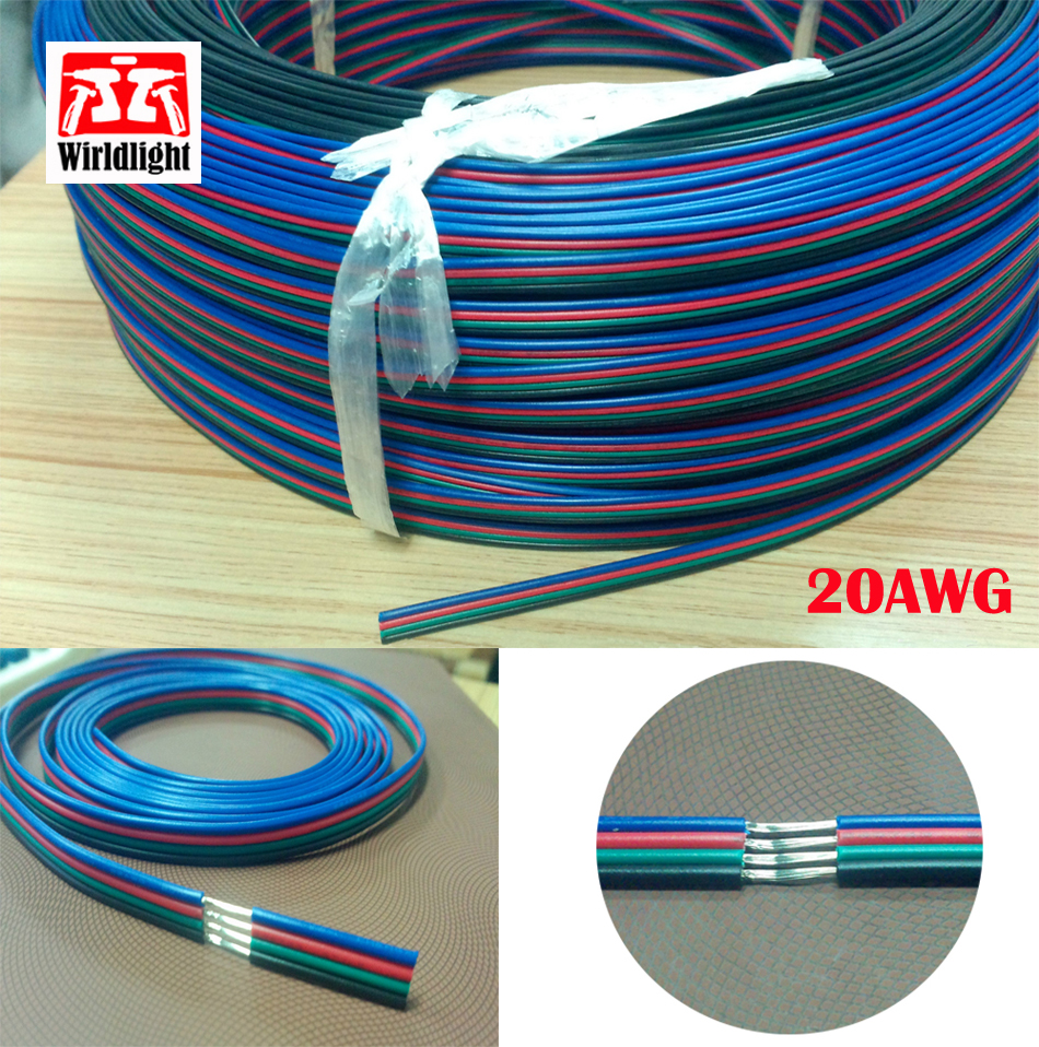 10 mt 20 mt 20AWG pvc isolierte kupferdraht 4pin RGB heizung ...