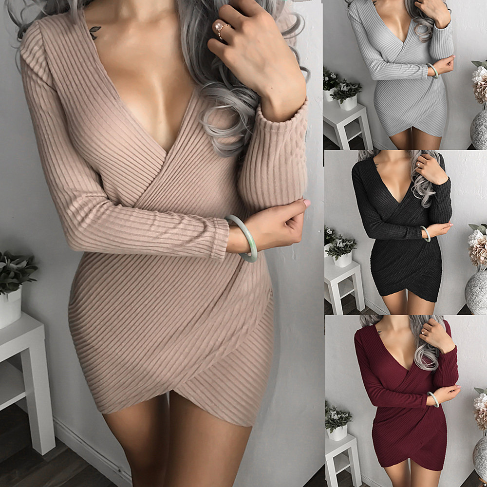 Sexy Low-cut Cross Deep V Neck Women Knitted Dress Erotic Clubwear Khaki  Black Gray a1d323343