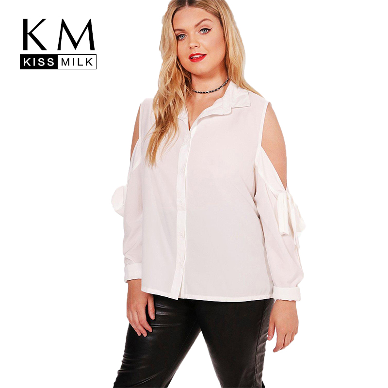 Kissmilk Women Plus Size Cold Shoulder Button Down Shirt Turn Down Collar Basic Shirt Bowknot Sleeve Large Size Casual Shirt