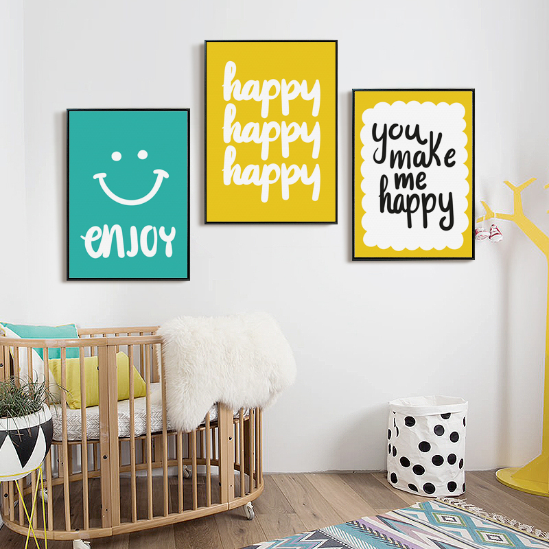 Nordic Decoration Simple Courtesy Happy Phrase Canvas Painting Poster & Print Picture Wall Art Childrens Bedroom Home Decor