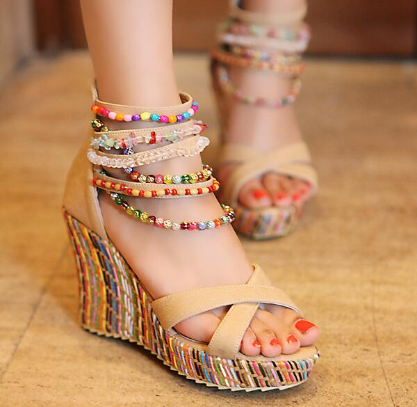 Women Wedge Heel Bohemian Sandals National Style Beaded Sandals New 2017 Cross Strappy Ladies Ethnic Boho Sandals lf40203 sexy white pink blue strappy heart heel wedge wedding sandals sz 4 5 6 7 8 9 10