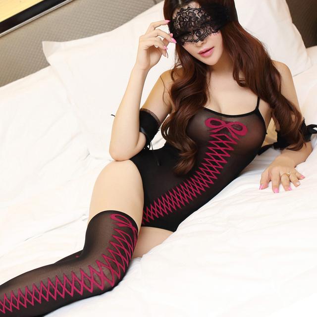 Sexy leotardo linda dama Camisón Pijama traje calcetines con L belleza de la realidad