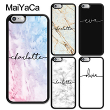 MaiYaCa Custom Marble Personalised Name Printed Soft TPU Coque Skin Phone Case For iPhone X XR XS Max 6 6S 7 8 Plus 5S SE Cover