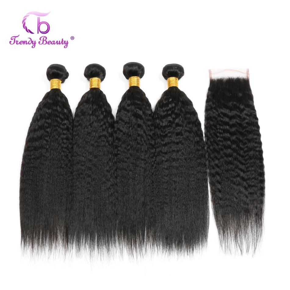 Trendy Beauty Kinky Straight Hair Bundles With Closure Peruvian Hair Weave Bundles Human Hair Bundles With
