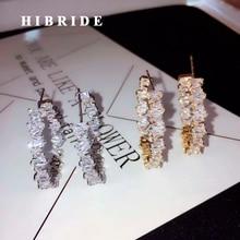 Роскошные женские серьги-кольца с кристаллами HIBRIDE, ювелирные изделия, модные свадебные вечерние серьги-кольца,, E-876