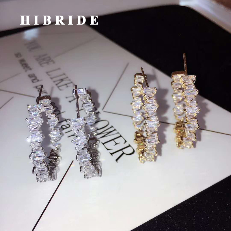 HIBRIDE Luxury Crystal Baguette Hoop Earrings For Women Jewelry Fashion Wedding Brincos Party Hoop Earring Wholesale E-876 цена 2017
