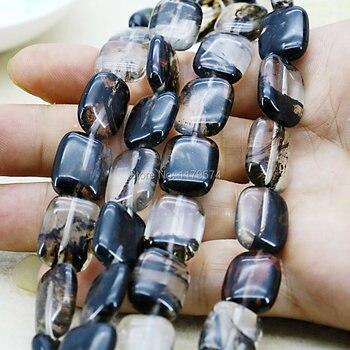 d5ee5ec2d65a 13x18mm rectángulo multicolor negro turmalina sandía Accesorios artesanía  flojo Cuentas Piedra Natural joyería haciendo diseño