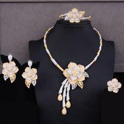 GODKI Trendy Luxus 4PCS Blume Afrikanische Halsband Schmuck Sets Für Frauen Hochzeit Voller Cubic Zirkon Dubai Braut schmuck Set 2019