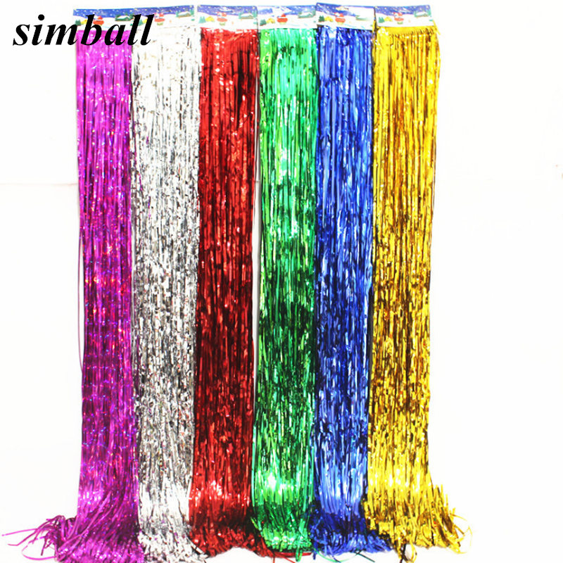 5pcs Foil Tassel DIY Foil Fringe Tinsel Curtain Tassel Garland Ribbon Balloons Baby Shower Birthdays Party Wedding Decorations-in Ballons & Accessories from Home & Garden
