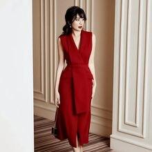 Thai popular logotipo ol para moças, de alta qualidade, vermelho, sexy, gola em v, sem mangas, lace up, vestido blazer, 2020, novo, vintage vestido de festa de cintura alta,