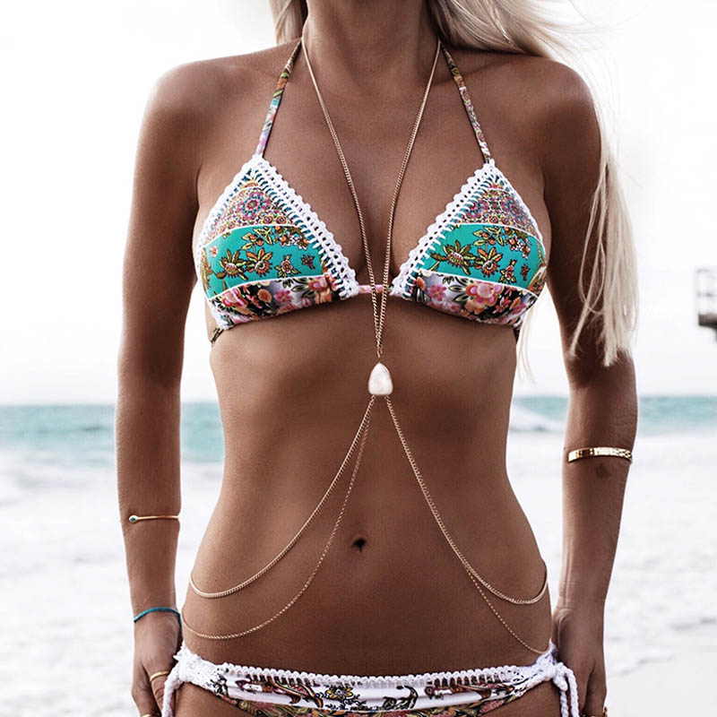 Womens Sexy Fashion Gold Silver Turquoise Body Belly Waist Chain Bikini Beach Harness Body Chain Necklace Jewelry