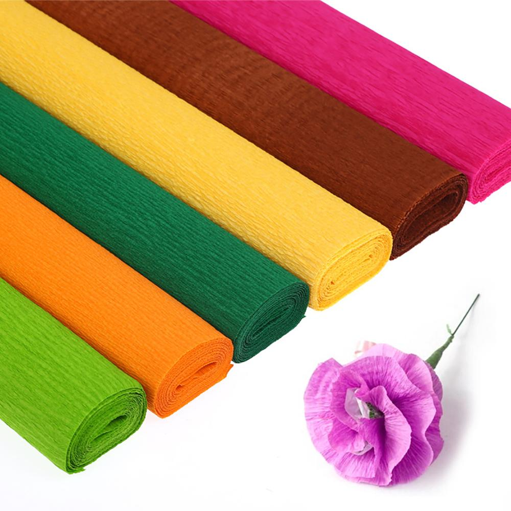 Folding Origami Crinkled Crepe Paper DIY Flower Wrapping Kids Handcrafts Supply