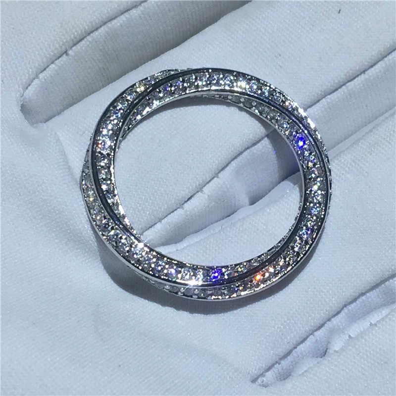 Choucong สายไฟแหวนเงินแท้ 925 AAAAA หิน CZ แหวนหมั้นแหวนผู้หญิงผู้ชายเครื่องประดับ